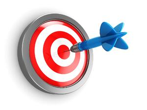 Red bullseye with blue dart 2