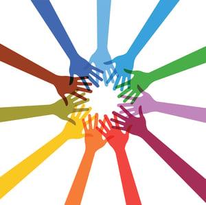 multi color hands vector