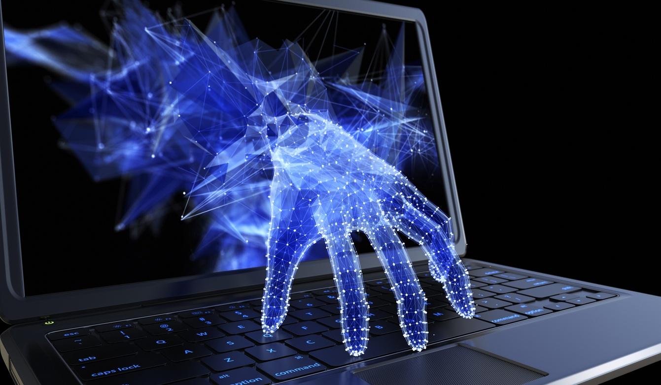 Cybersecurity data breach hand laptop twitter